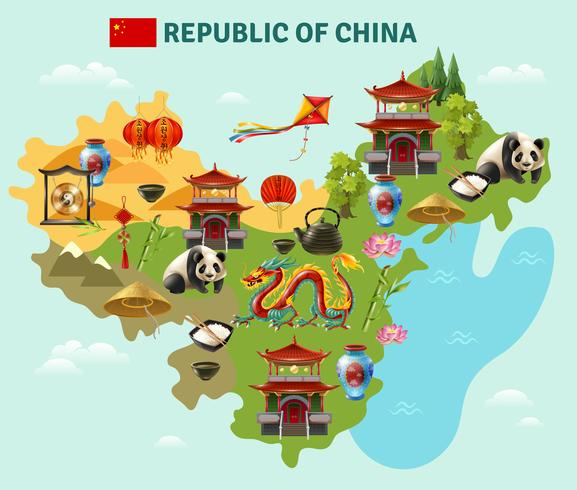 China Reizen Sightseeing kaart Poster vector