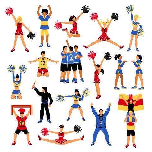 Voetbalsters Cheerleaders en fans ingesteld vector