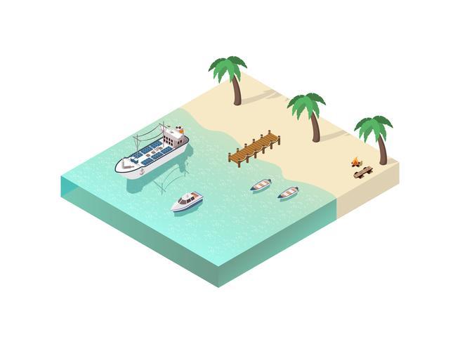 Isometrische kustlijnsamenstelling vector