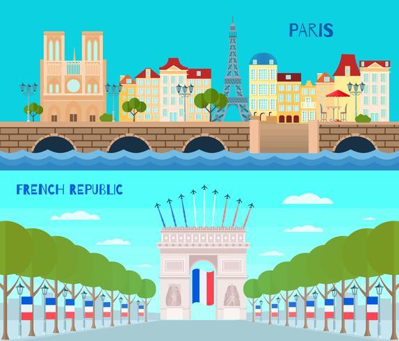 Frankrijk horizontale banners instellen vector