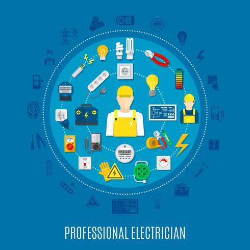 Professionele elektricien rond ontwerp vector