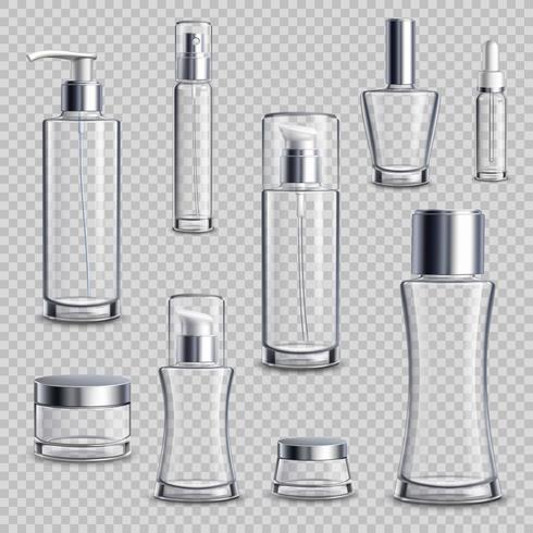 Cosmeticapakket Realistische transparante set vector
