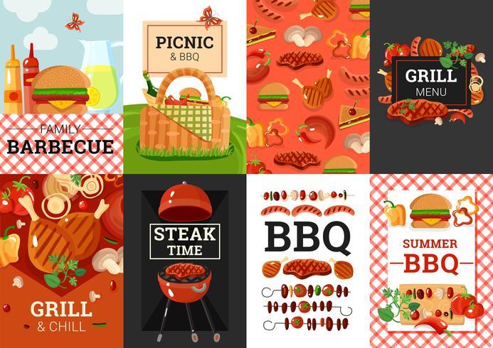 BBQ-barbecue picknick banners instellen vector