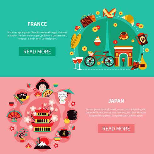 Frankrijk en Japan Landmarks horizontale banners vector
