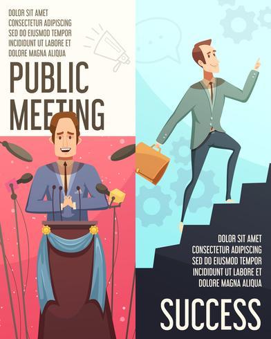 Zakelijke bijeenkomst Banners Set vector