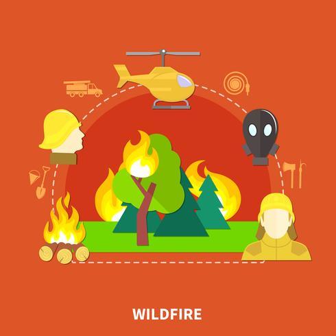 Platte brandbestrijding illustratie vector