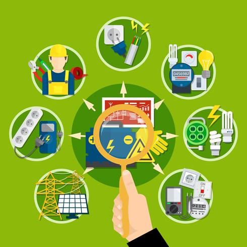 Elektrische apparaten en technologieën samenstelling vector
