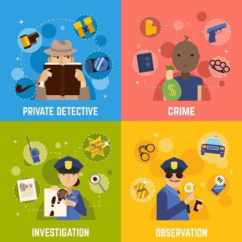 Prive-detective Concept Icons Set vector