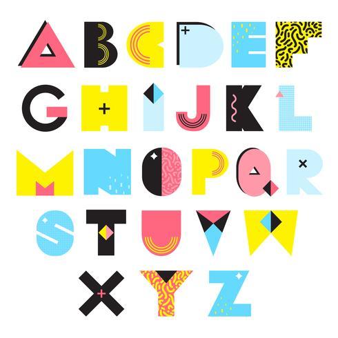Alfabet Memphis Stijl Illustratie vector