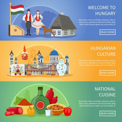 Welkom bij Hongarije Banners vector