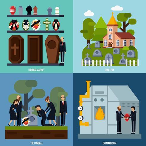 Uitvaartdiensten Icon Set vector