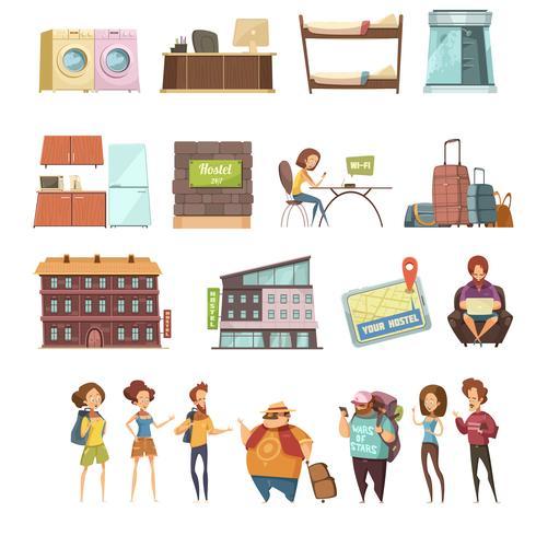 Hostel geïsoleerd Retro Icons Set vector