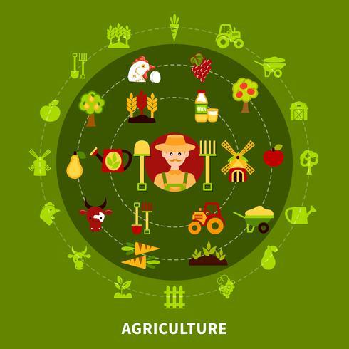 Landbouwer landbouw ronde samenstelling vector