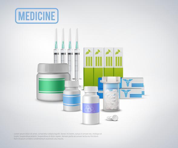 Realistische medische benodigdheden achtergrond vector