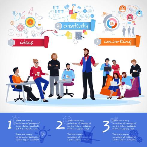 Coworking Infographics-sjabloon vector
