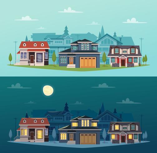 Huizen in de voorsteden Horizontale Banners vector