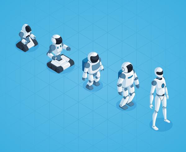 Evolutie van robots Isometrisch ontwerp vector