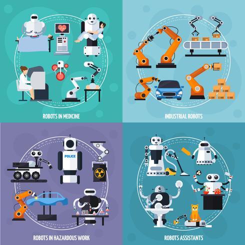Robots Concept Icons Set vector