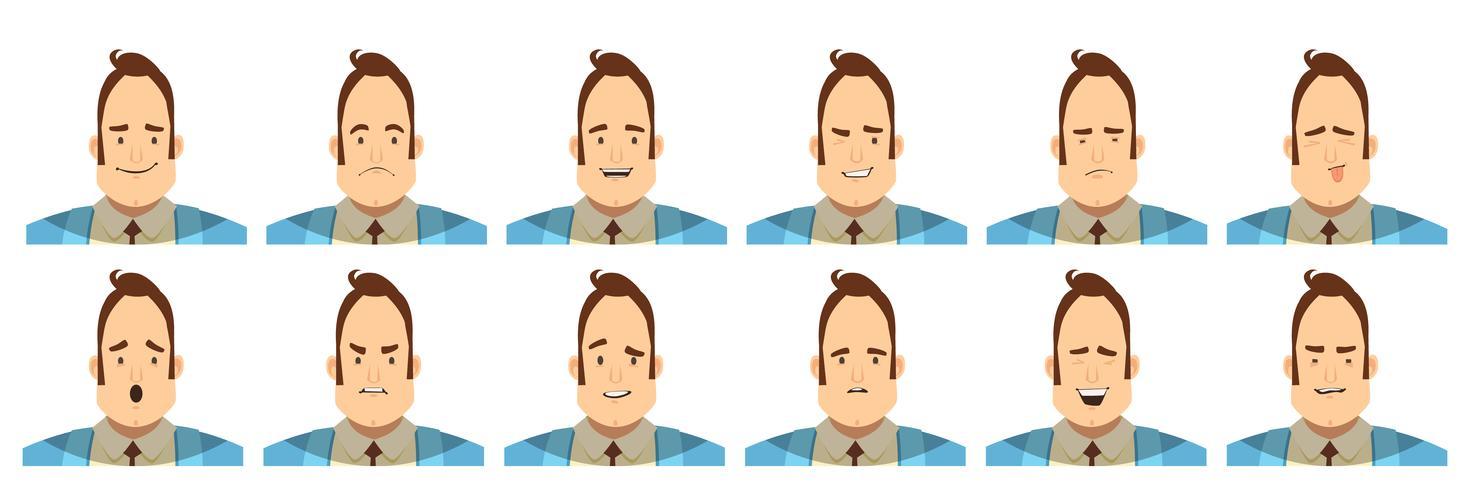 Mannelijke emoties Avatars Cartoon stijl instellen vector