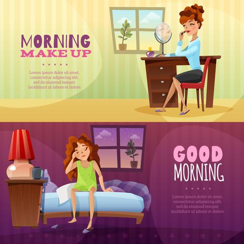 Good Morning horizontale banners vector