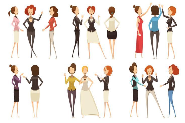 Groepen ondernemers cartoon stijlenset vector