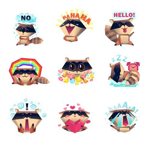Emoties van Raccoon Set Cartoon Style vector