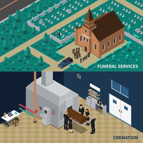 Begrafenisdiensten Isometrische Banners vector