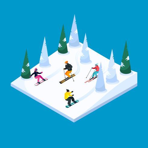 Skiën Landschap isometrisch Element vector