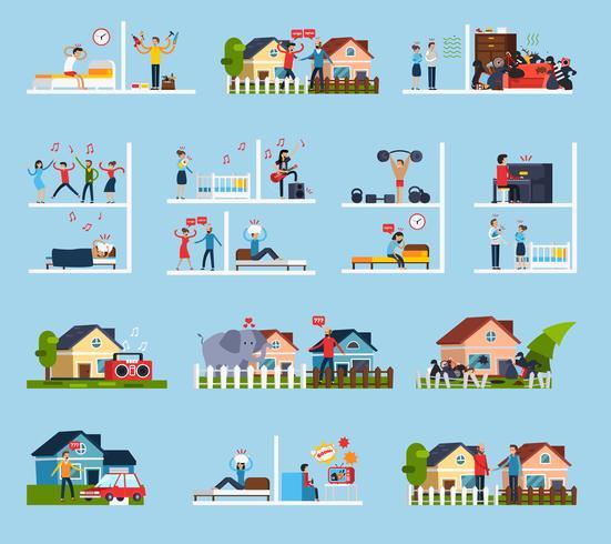 Conflicten met buren Icons Set vector