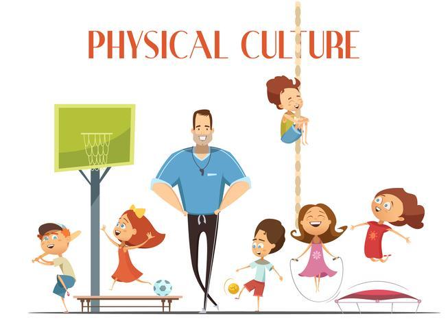 Fysieke cultuurles Retro cartoon illustratie vector