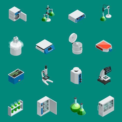 Wetenschappelijke laboratoriumapparatuur isometrische pictogrammen vector
