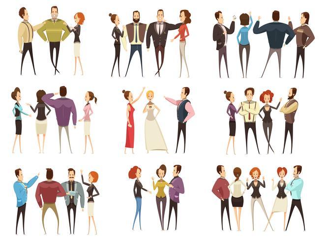 Zakelijke Teams Cartoon Style Set vector