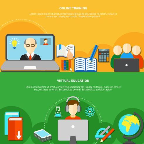 Twee E-learningbannersets vector