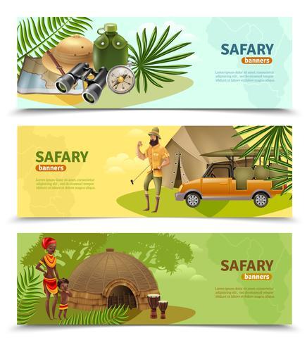 Safari-bannerset vector