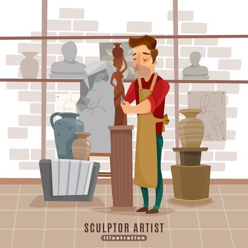 Beeldhouwer Artist At Work Illustratie vector