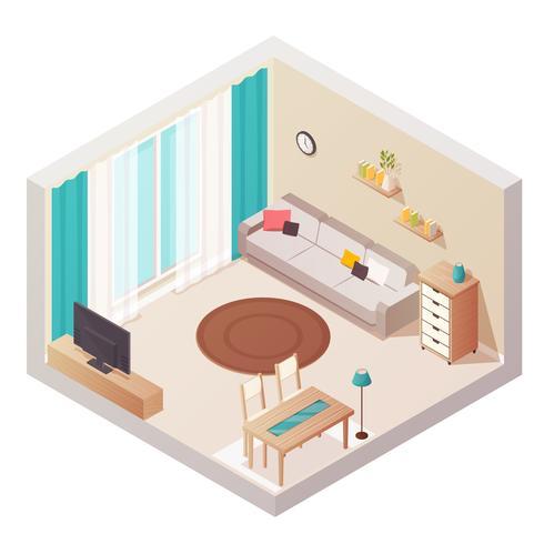 Isometrische woonkamer interieur vector