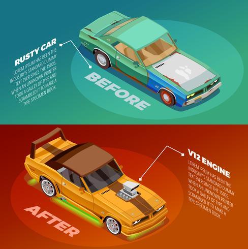 Auto Tuning 2 Isometrische Banners Set vector
