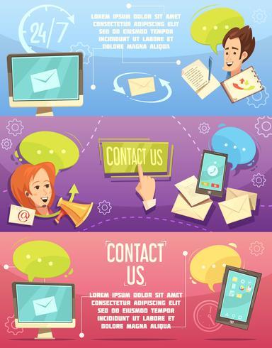 Neem contact op met ons Retro Cartoon Banners Set vector