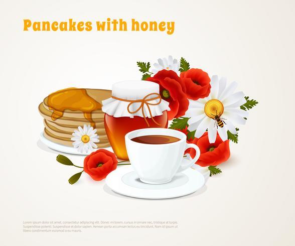 Pannenkoeken met honing-samenstelling vector