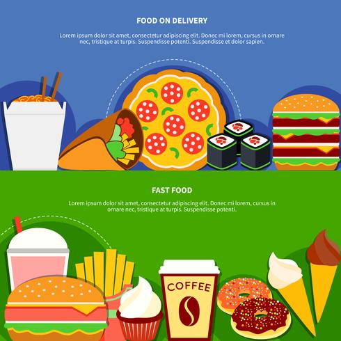Fast Food Delivery Service Platte banners vector