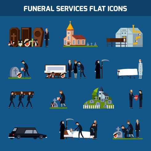 Begrafenisdiensten Flat Icon Set vector
