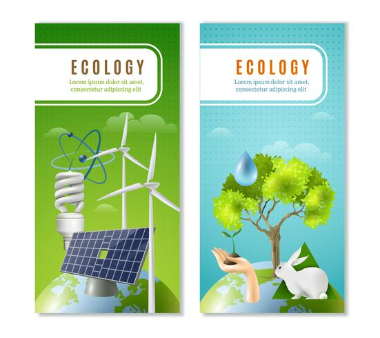 Ecology Green Energy 2 verticale banners vector
