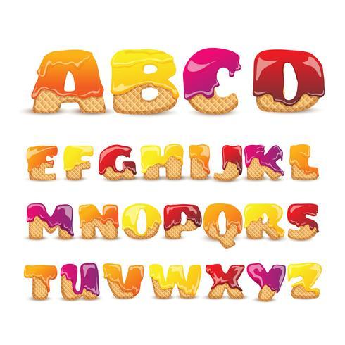 Gecoate wafels Zoete alfabet Letters Set vector