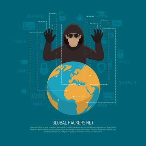 Wereldwijde Hackers Netto Symbolische Achtergrond Poster vector