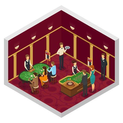Gekleurde Casino isometrische interieur vector