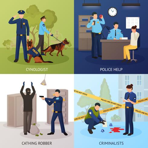 Politiedienst 4 plat pictogrammenvierkant vector