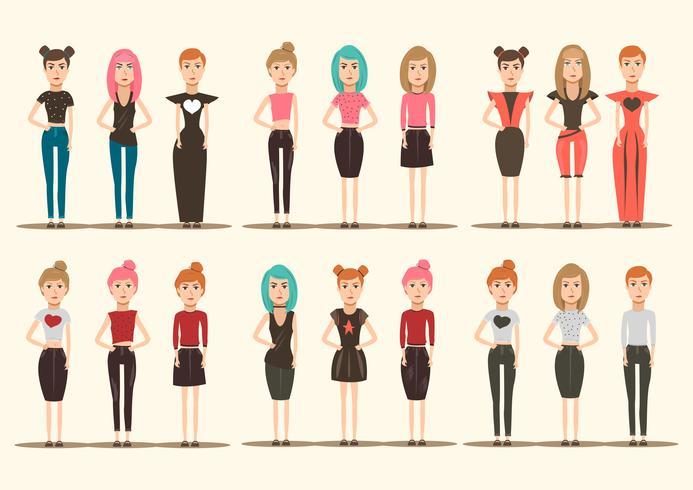 catwalk modellen karakters collectie vector