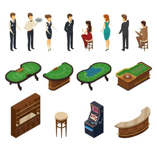 Casino isometrische Icon Set vector