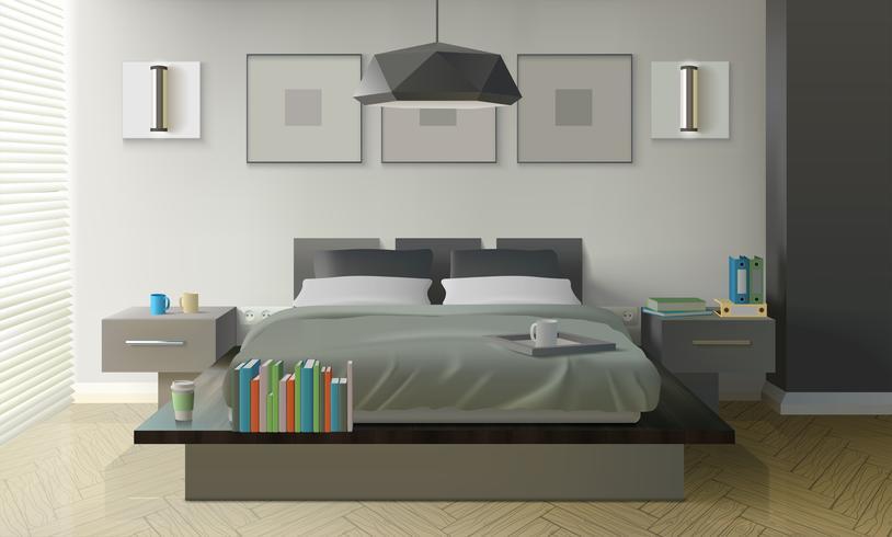Modern slaapkamer interieur vector