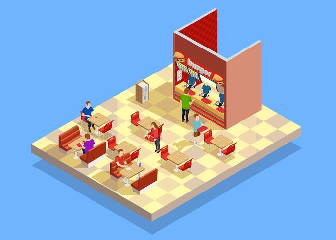 Food Court Counter Area isometrische samenstelling vector